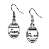 I Love Heart Gymnastics Dangling Drop Oval Earrings