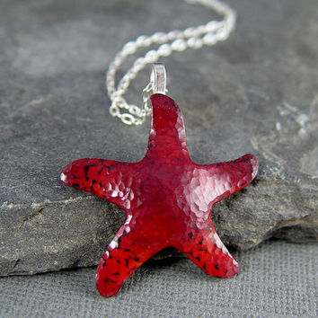 Starfish Copper Pendant Red and orange Summer Fashion by HapaGirls
