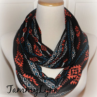 NEW! Black Coral Turquoise Navajo Print Soft Modal Cotton Rayon Spandex Knit Infinity Scarf Ready to Ship!! Women's Accessories