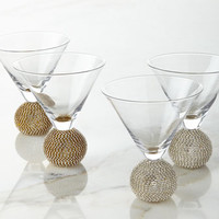 Ball-Stem Martini Glasses, Set of 2