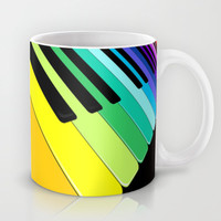 Piano Keyboard Rainbow Colors  Mug by Bluedarkat Lem