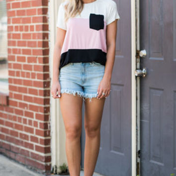 In An Instant Top, Blush-Black