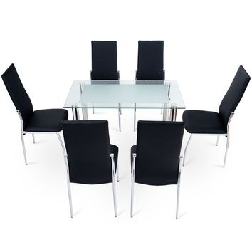 7 Pcs Dining Set Tempered Glass Top Table & 6 Chairs