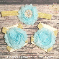 Aqua and Gold Rhinestone Headband and Barefoot Sandals Set / Baby Headband / Baby Barefoot Sandals / Toddler / Infant / Baby Bows / Girls