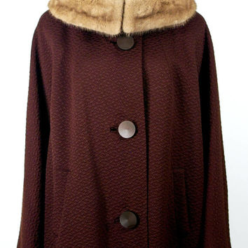 Vintage Winter Coat, 60s Mink Collar Coat, Chocolate Brown Bobby Burns Storm Coat,  Warm Wool Winter Mink Fur Collar Coat, Size L/XL