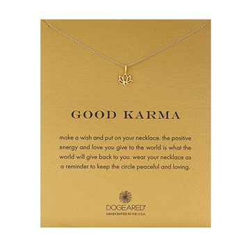 dogeared 'reminder good karma happy lotus necklace' 16""