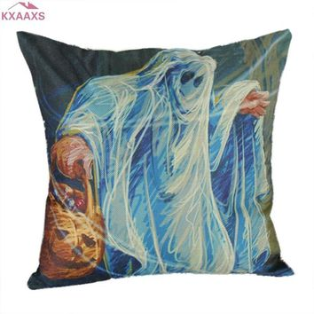 45*45cm Halloween Pumpkin Ghost Pattern Pillow Cover Decorative Throw Cushion Cover Car Sofa Seat Cartoon Pillowcase