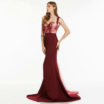 Straps long evening dress elegant red lace sleeveless floor length gown  women formal mermaid evening dresses