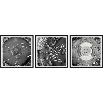 Marmont Hill Traffic Circle Framed Triptych Wall Art (Set of 3)