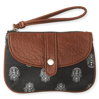 Aeropostale Womens Hamsa Flap Wristlet - Black, One
