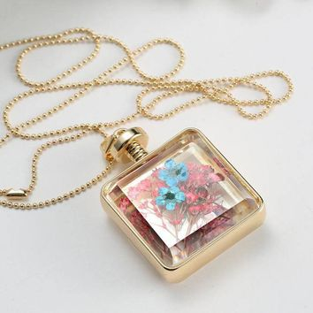 Square Glass Bottle Dry Flower Long Charm Necklace