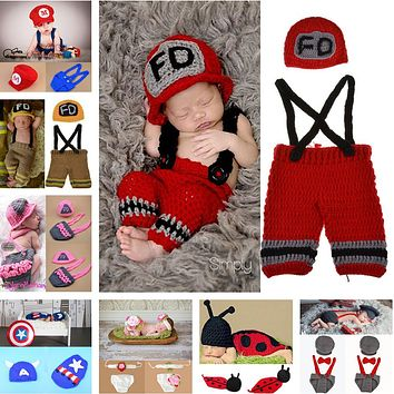 Crochet Baby Hat shorts Set Newborn Baby Fireman Costume Infant Boy Knitted Firefighters Photography Props 1set MZS-15037