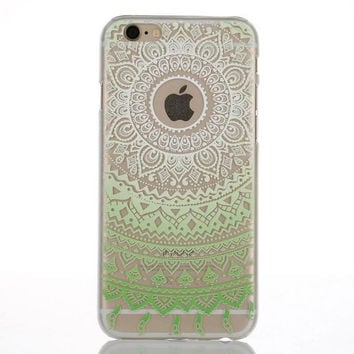 Unique Green Lace Floral Case Cover for iPhone 5s 5se 6s Plus Free Gift Box 46