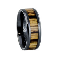 Men's black ring with zebra wood inlay