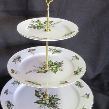 3 Tier Lily of the Valley Bone China Cake Stand
