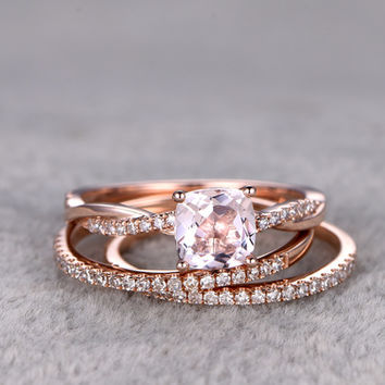 1 Carat Cushion Cut Morganite Wedding Set Twisted Diamond Bridal Ring 14k Rose Gold Infinity Stacking Thin Matching Band
