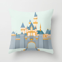 Sleeping Beauty Castle Throw Pillow by StevenCoward
