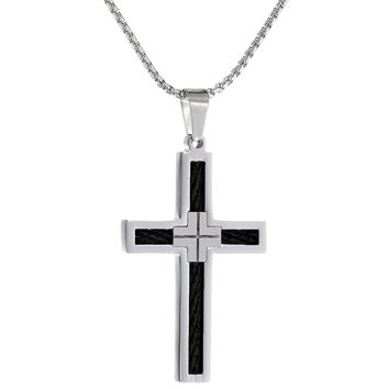 """Metro Jewelry Stainless Steel Cross Pendant Black Cable Inlay 22"""" Box Chain"""
