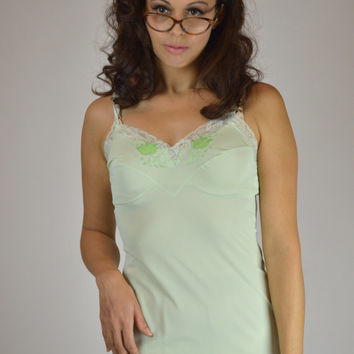 Mini Slip Dress, Vintage Lingerie, Green Nightie, Green Baby Doll, Pin Up Lingerie, Buffalo Gal Vintage, Size Small,