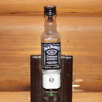 Night Light Liquor Bottle Upcycled from Jack Daniel's Mini Bottle