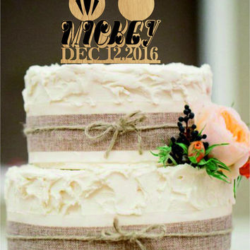 Rustic Cake Topper,Funny Wedding cake topper,Wedding Cake Topper,Personalized Cake Topper,Mickey and Minnie Cake Topper,Bride and Groom