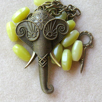 Antiqued Brass Elephant Pendant, Olive Jade, Brass Chain, Head Pins, DIY Jewelry Kit, Bead Kit, Necklace Design, Minimalist Jewelry, etsy