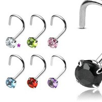 CZ - Sterling Silver Nose Ring Screw - 3mm Prong Set Gemstone