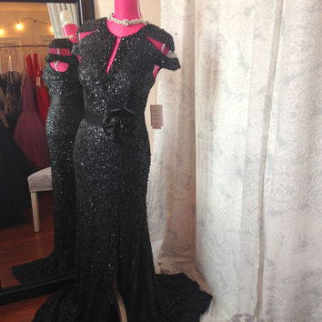 Rina Di Montella 1818 IN STOCK Black SZ 12 Cap Sleeve Sequin Prom Dress MOB Evening Gown $675