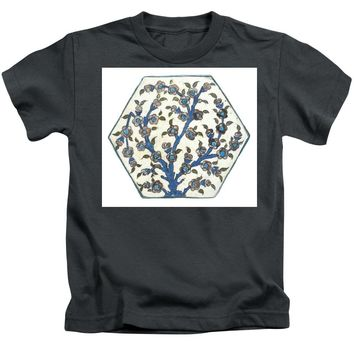 An Ottoman Dmascus Style Floral Design Hexagonal Pottery Polychrome, By Adam Asar, No 12b - Kids T-Shirt