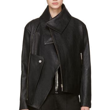 Anthony Vaccarello Black Grained Leather Biker Jacket