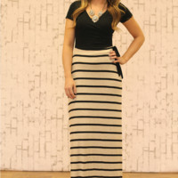Down To Earth Maxi Dress in Black and Taupe
