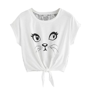 Casual Short Sleeve Round Neck Printed Cat Tshirt Tops - Tie At The Waist Lace Back