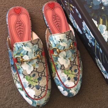 GUCCI Fashion Casual Print Flat bottomed single shoe sandals  Blue Flower G