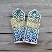 Knit Green Tones Mittens - Fall Gloves - Bohemian Accessories - Women's Accessories - Christmas Gift Ideas nO 26