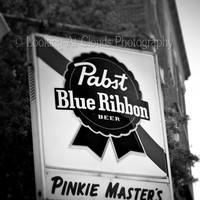 PBR beer sign - 5 x 7 fine art photo - Pinkie Master's Bar - Pabst black and white retro beer sign