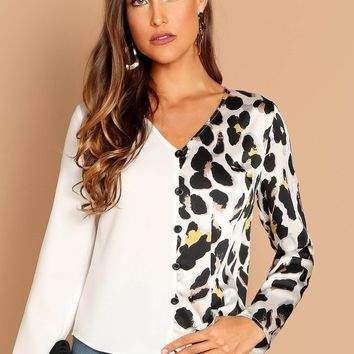Black and White Two Tone Leopard Print Shirt