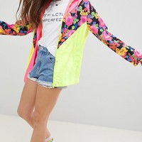 ASOS DESIGN Chevron Floral Colour block Jacket at asos.com