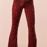 Floral Velvet Burnout Flared Pants