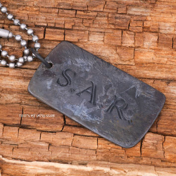 Custom Black Sterling Silver Jewelry Dog Tag Pendant, Double Sided Stamped Initials, Memorial Jewelry, Military Jewelry