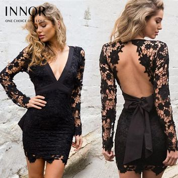 Sexy Hollow Out Pink Lace DressSexy Bow Fringe Lace Black Mini Dress Slim Deep V Neck Long Sleeve Backless Crochet Bodycon