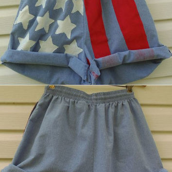 HighWaisted AMERICAN FLAG Shorts Medium by MadMixFashion on Etsy