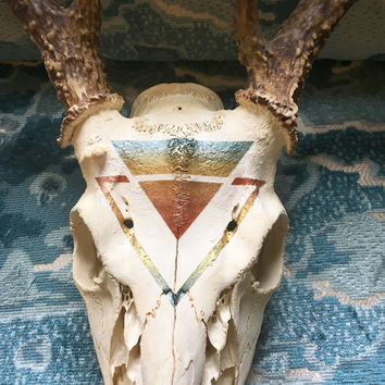 Hand-Painted Deer Skull with Antlers - Animal Skull Decor - Gold, Sage, and Copper - Taxidermy