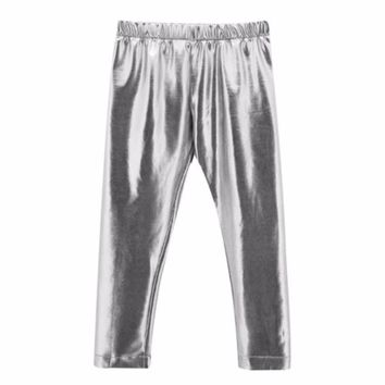 Cool Baby Toddler Girls Silver Shiny Skinny Leggings