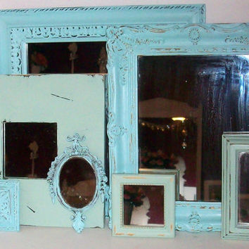7 Shades of the Beach Distressed Wall Mirrors Robins Egg Blue and Sea Foam Green