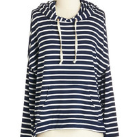 ModCloth Nautical Mid-length Long Sleeve Hoodie Road to Cozy Hoodie