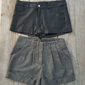 2 Shorts Dress High Waist Cuffed Sz M Faux Leather Black Sz 10 Forever 21