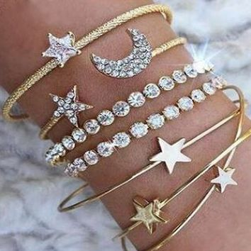 Heaven On Earth Gold Moon Stars Rhinestone Multiple Bangle Bracelet Set