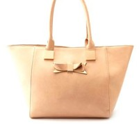 Bow-Embellished Oversized Tote Bag by Charlotte Russe - Blush