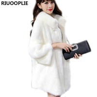 RIUOOPLIE Winter Sexy Women Mink Fur Rabbit Fur Coat Ladies  Faux Fox Fur Jacket Fur Coat