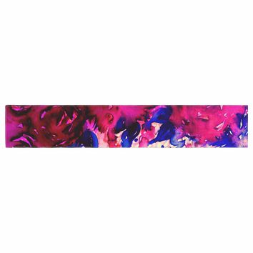 """Ebi Emporium """"Petals On Parade - Oxblood and Blue"""" Red Pink Blue Painting Table Runner"""